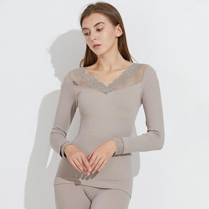 Winter New Keep Warm Underwear Set Lace V Lead Sext Beautiful Body Thermal Underwear Set