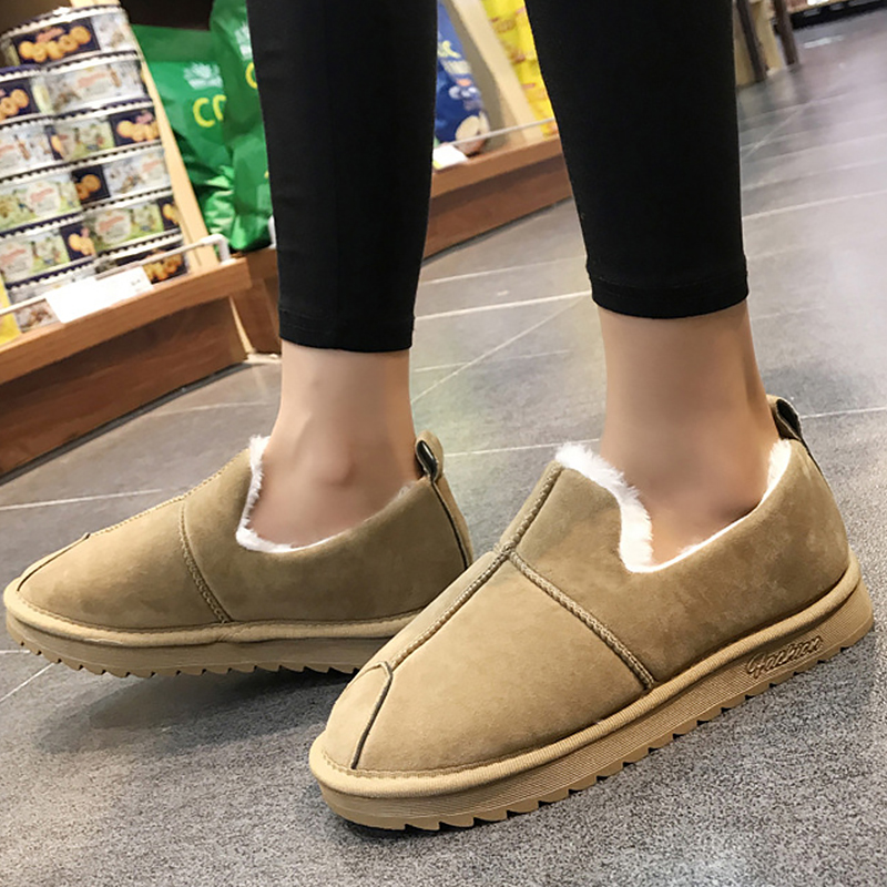 Winter Snow Shoes For Women Large Size 43-44 Suede Soft Rubber Chunky Boots Ankle Female Fashion Waterproof Shoes Women Antiskid