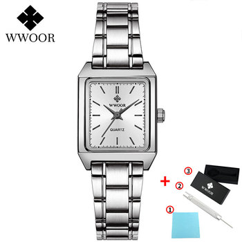 2020 WWOOR Top Brand Luxury Women Square Watches xfcs Genuine Leather Quartz Small Dial Wrist Watch Gifts For Women Montre Femme - White-G
