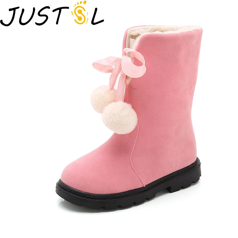 Autumn Winter Children's Non-slip Cotton Boots Girls Cute Princess Wild Keep Warm Pink Boots Kids Comfortable Snow Shoes