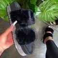 Pelz Strass Frauen Hausschuhe Plattform Keile Ferse Schwarz Faux Flur Nicht Slip Außerhalb Innen Rutschen Mode Luxus Schuhe Damen