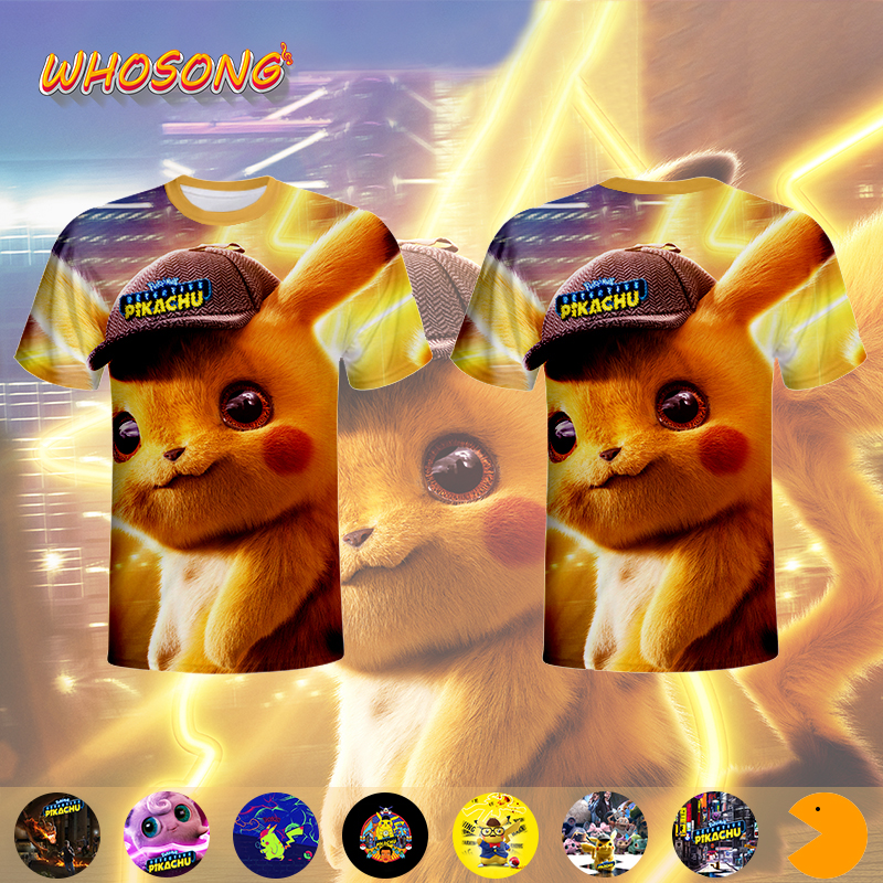 2019 Pokemon <font><b>Detective</b></font> <font><b>Pikachu</b></font> 3D Print funny t shirt WHOSONG boys clothes <font><b>Tshirt</b></font> men image