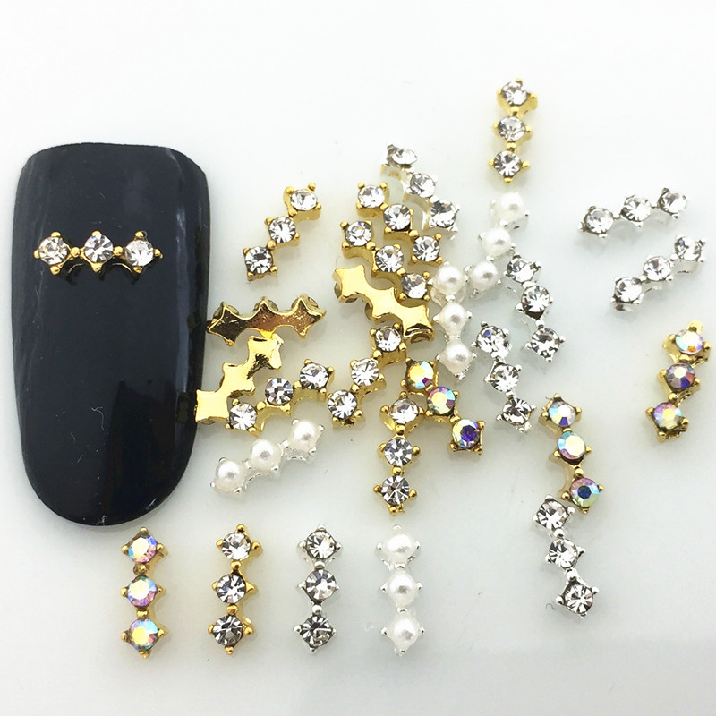 Japanese-style Nail Sticker Official Website Celebrity Style Metal Strip Diamond Set Symphony Pearl Nail Ornament Alloy DIY Nail