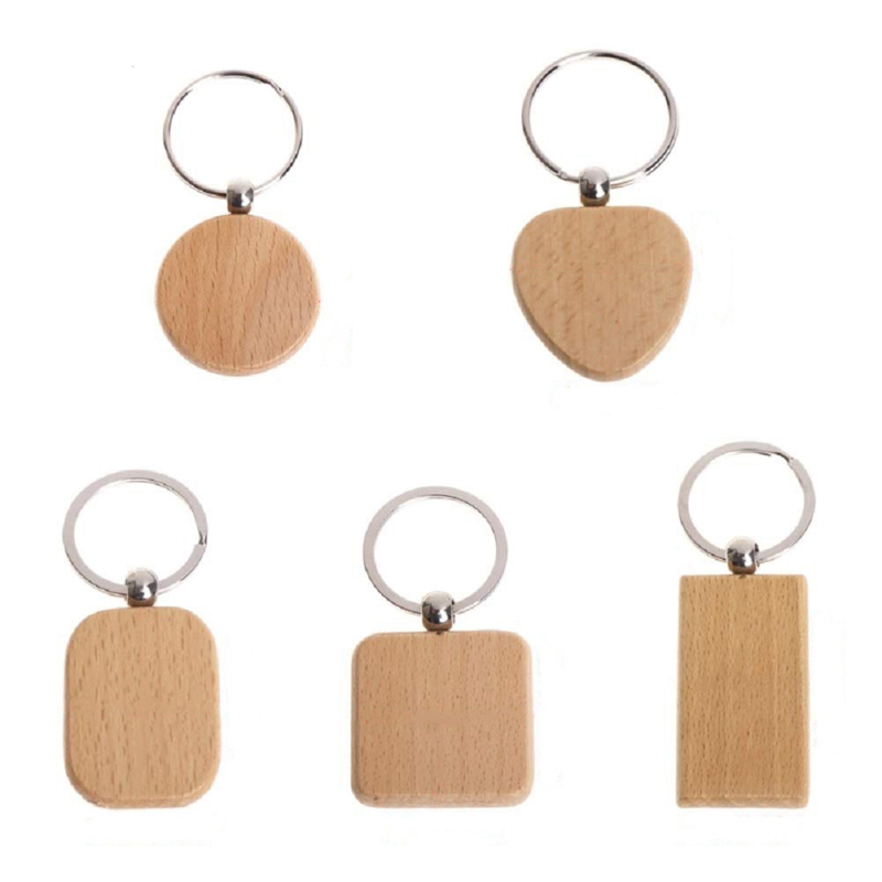 100 Blank Wooden Wooden Keychain Diy Wooden Keychain Key Tag Anti-Lost Wood Accessories Gift (Mixed)