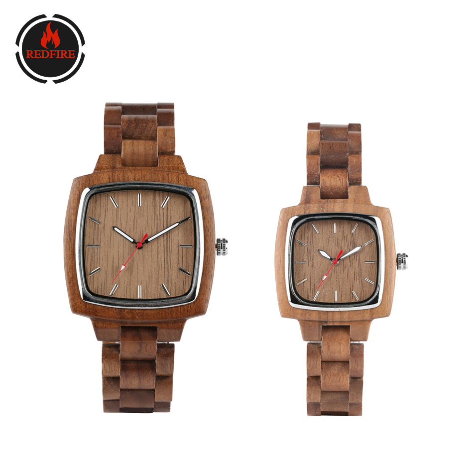 REDFIRE Wood Watches Couple Wristwatches Quartz Full Walnut Wooden Lovers Watch Minimalist Square Dial Clock Reloj De Pareja