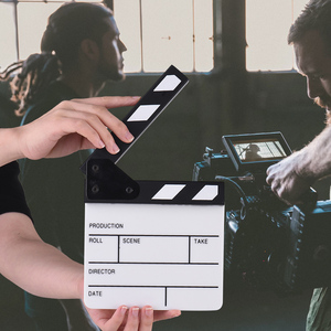 Image 2 - Compact Size Acrylic Clapboard TV Film Movie Director Cut Action Scene Clapper Board Slate