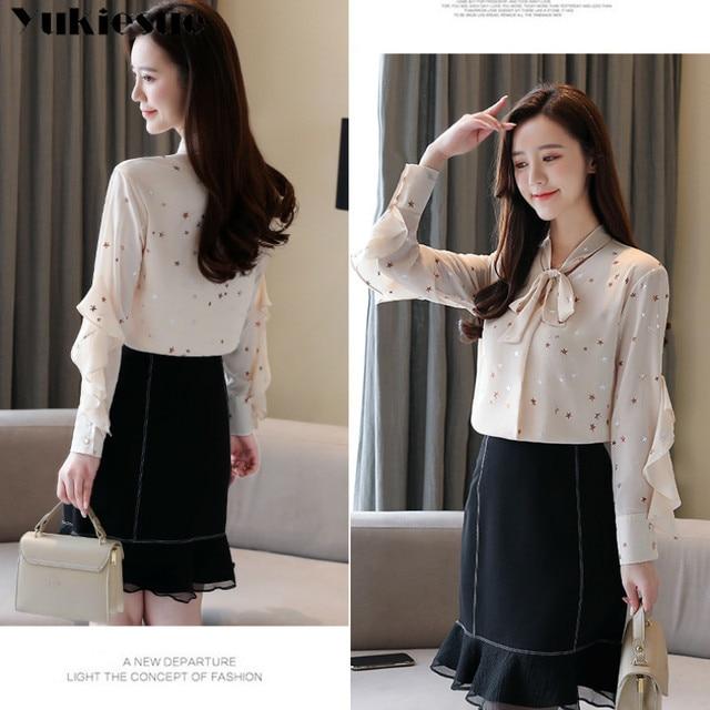 Plus size womens tops and blouses Summer women blouses 2020 white blouse long sleeve star print chiffon blouse women shirt top 4
