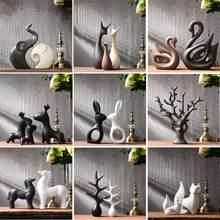 Simples e moderno estatuetas de cerâmica sala ornamento decoração para casa artesanato escritório café casamento cerâmica presente