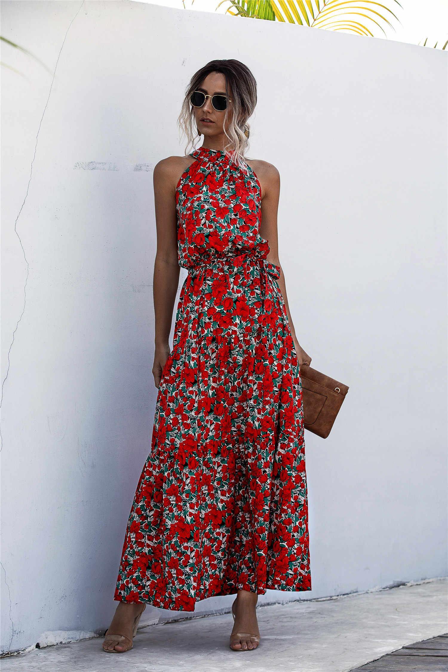 Sommer Elegante Sexy Langes Kleid Frauen 2020 Mode Druck Blumen Polka-dot Strap Damen Halter Boho Kleid Baumwolle Vestidos kleidung
