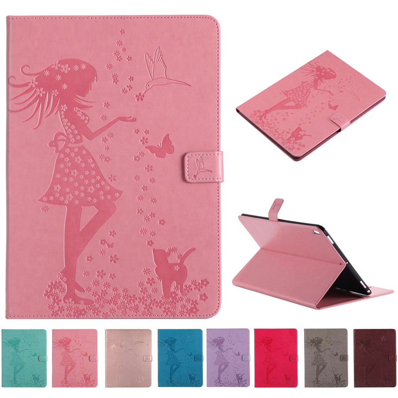 Girl Cat Painted PU Leather <font><b>Case</b></font> for Samsung Tab A 10.1 2019 SM-<font><b>T510</b></font> SM-T515 <font><b>T510</b></font> T515 Cover With Card Slot Tablet <font><b>case</b></font>+film+pen image