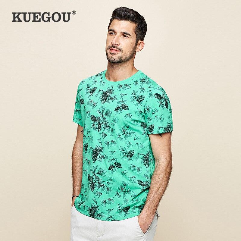 KUEGOU 100% Cotton  Men's Short Sleeve T Shirt Tourism Plant Printing  Round  Neck Tshirt Summer Tops Plus Size HT-2507