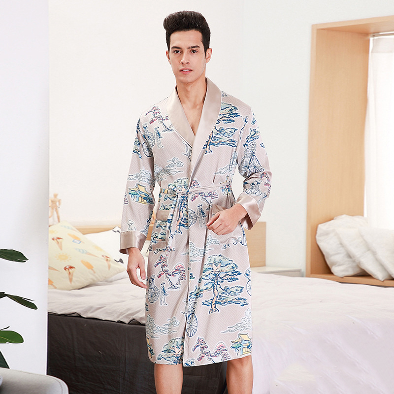 Men Satin Kimono Bathrobe Gown Night Dress Long Sleeve Home Dressing Gown Pajamas Print Flower Intimate Lingerie Belt Sleepwear