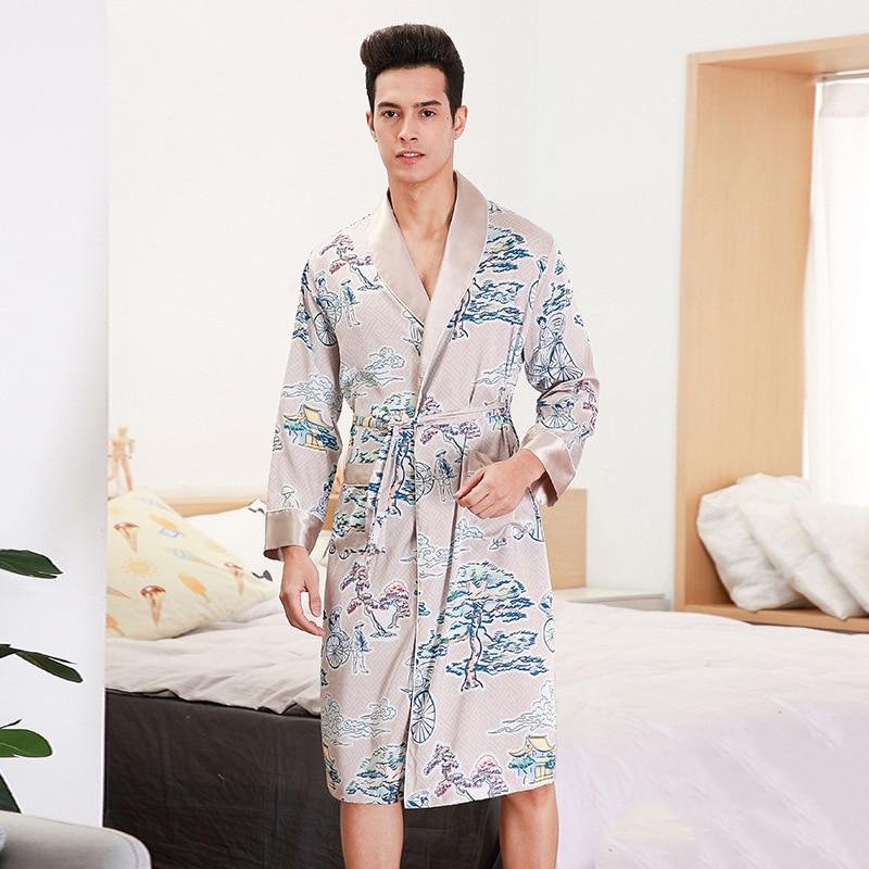 Men Satin Kimono Bathrobe Gown Night Dress Long Sleeve Home Dressing Gown Pajamas Print Flower Intimate Lingerie Belt Sleepwear