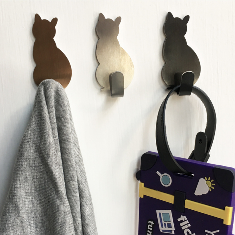2 Buah Diri Perekat Kait Kucing Pola Penyimpanan Pemegang untuk Kamar Mandi Dapur Gantungan Menempel Pada Dinding Handuk Pakaian Pintu rak