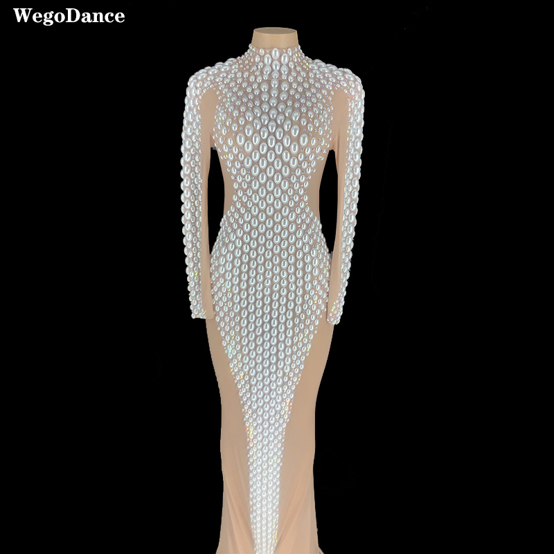 Women Flashing Pearls Silver Rhinestones Transparent Dress Birthday Celebrate Dress Bar Latin Dancer Singer Long Dress