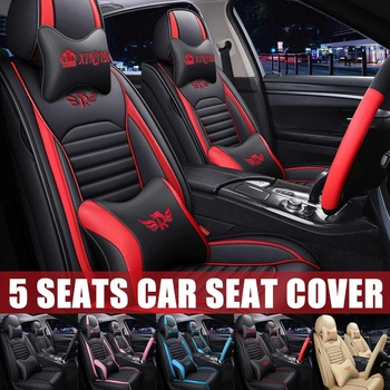 Luxury Leather Auto Car Seat Cover Set 5 Seats Full Set Covers With Cushion Universal Fits For Most Sedan Suv Small Truck Leather Bag