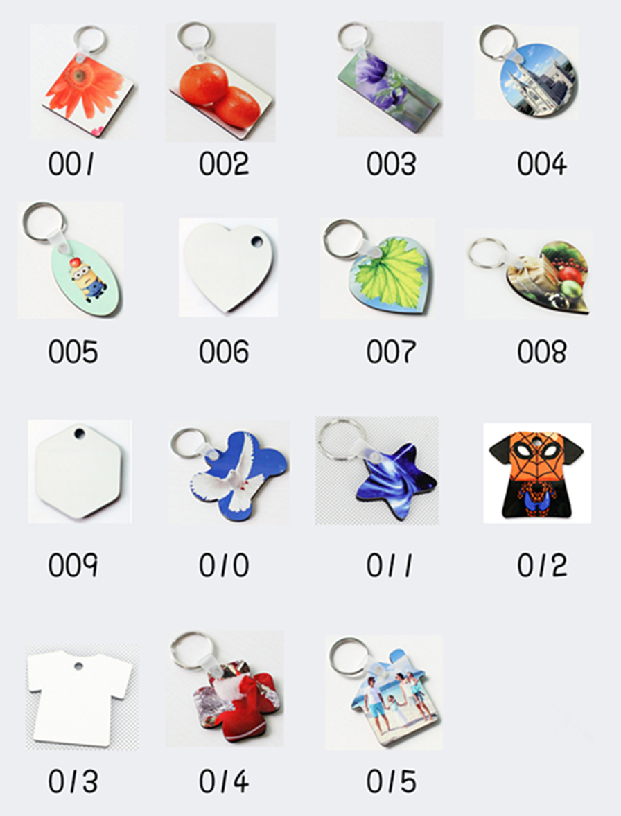 50pcs/lots Blank Sublimation MDF Key Rings Tags Keychain DIY Gift Printing Sublimation Ink Transfer Two Sides