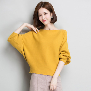 Batwing Sleeve Loose Autumn Women Pullover Sweater Yellow Knit Fashion Female Pull New Arrival Striped Pullovers and Sweaters seggnice striped loose ladies long sleeve sweater pullover 2020 autumn winter new arrival round neck knit sweaters for women