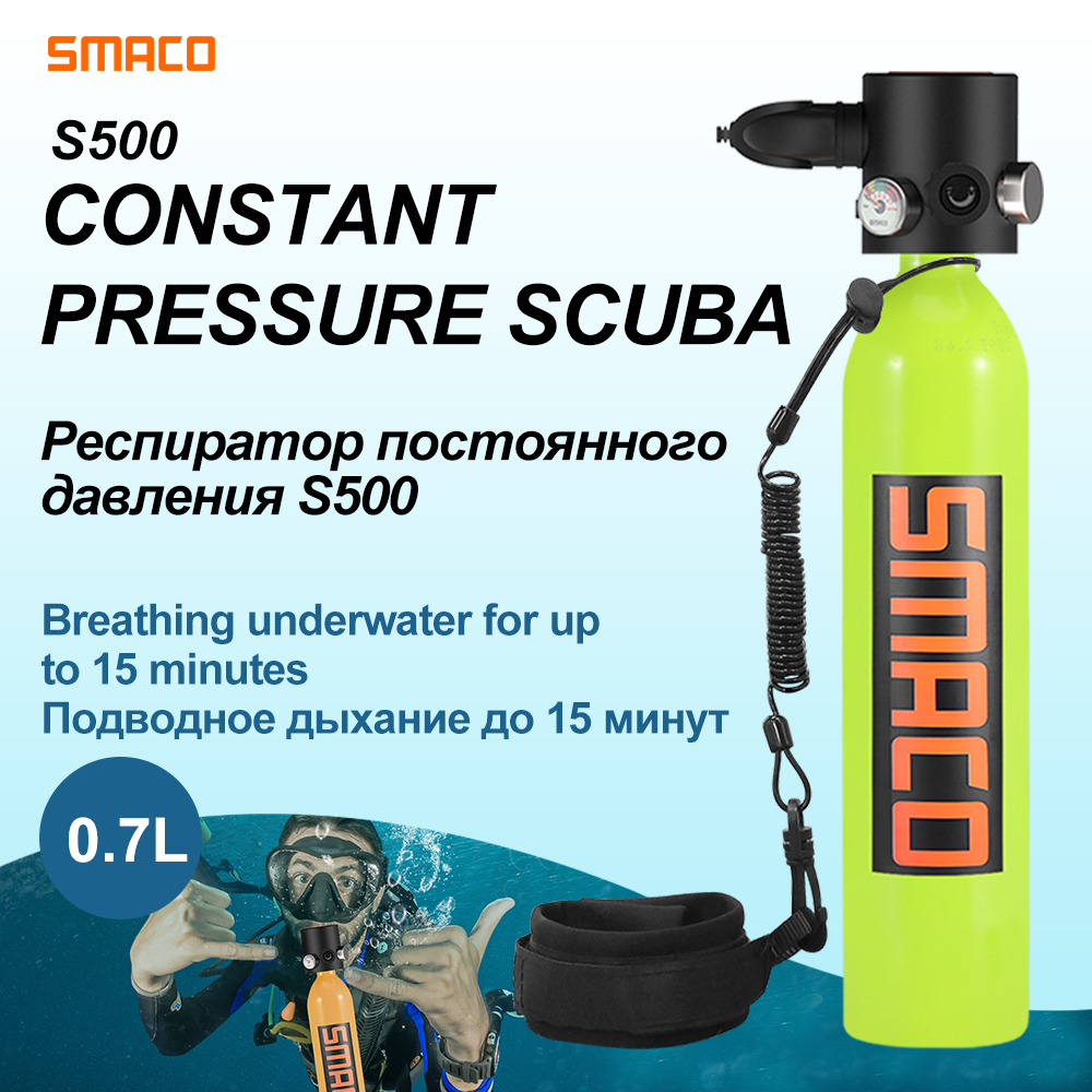SMACO Constant Pressure Mini Scuba Diving Cylinder Oxygen Tank S500 Portable Air Switch Valve Tank 0.7L Underwater 15 Minutes