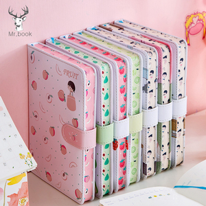 Fruit Print Notebook Planner Magnetic Buckle PU NoteBook Yearly Agenda Color Illustration Daily Plan Kawaii Stationery