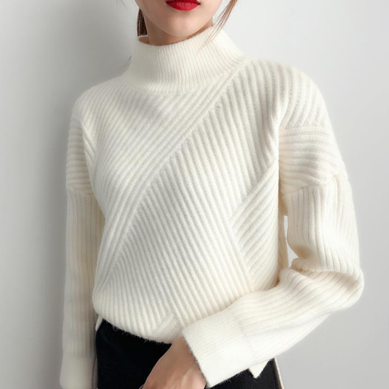 2020 6 Colors Women Autumn Winter Sweater Knitted Black White Yellow Female Sweaters Turtleneck Ladies Pullover Jumper Pull Trui
