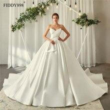 Royal ชุดแต่งงาน 2020 V คอนุ่มชุดแต่งงานซาติน PUFFY Ball ชุด Ruffles ชุดเจ้าสาวยาว Vestido De noiva