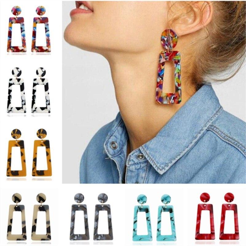Boho Geometric Big Acetic Acid Statement Earrings Fashion Jewelry Colorful Leopard Printed Acrylic Drop Earrings For Women