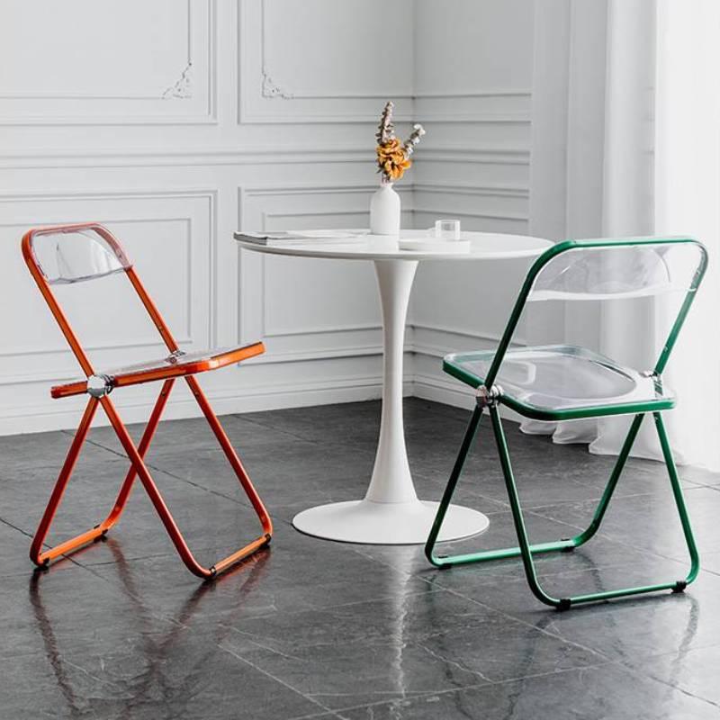 стул кухонный Kids Furniture Nordic Transparent Folding Chair Backrest Household Simple Dining Stool Web Celebrity Makeup Chairs