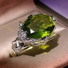 New Luxury Green Zircon Stone Ring For Women Silver Color Vintage Elegent Girl Tendy Mori simple Moonstone Finger Jewelry F4T378