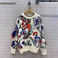 SPENNEOOY Designer Custom Runway Autumn Women High End Vintage Sweater Ladies Long Sleeve Multicolor Cashmere Knitting Pullovers