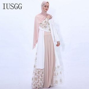 Abaya Kimono Muslim Cardigan Muslim Open Abaya Dress Elegant Sequin Cardigan Robes Turkish Islamic Prayer Clothing  Muslim Dress
