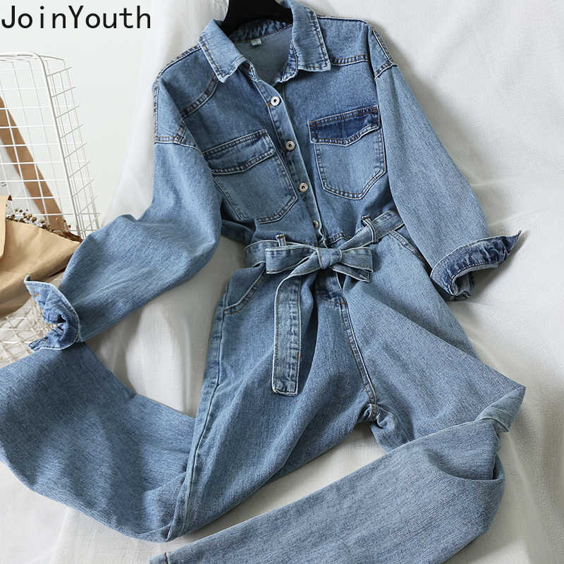 Joinyouth Vrouwen Turn Down Kraag Lange Mouw Casual Demin Jumpsuit Lace Up Slanke Taille Jeans Lente Jeans Jumpsuit Romper 58742