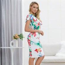 цены на 2019 New Woman Dress Shoulder Floral Print Pack Hip Dress Slimming Beach Summer Short Sleeve Dress For Girl  в интернет-магазинах
