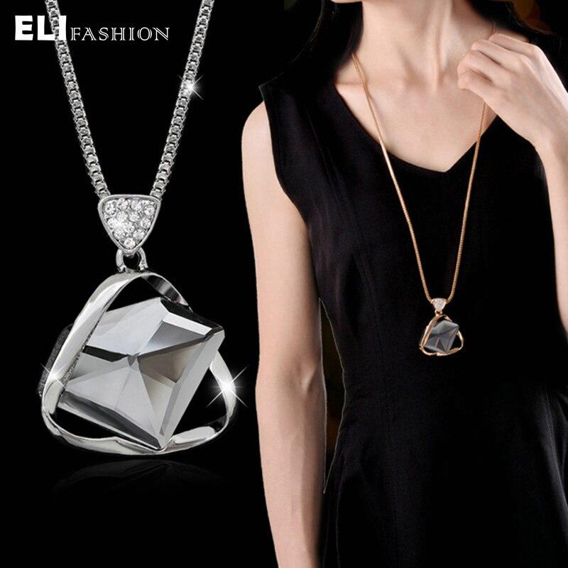 ELIfashion, ожерелье с кулоном в форме треугольника, стразы, блестящая металлическая оправа, длинная цепочка, ожерелье, ювелирное изделие, очаровательное для женщин Ожерелья с подвеской      АлиЭкспресс