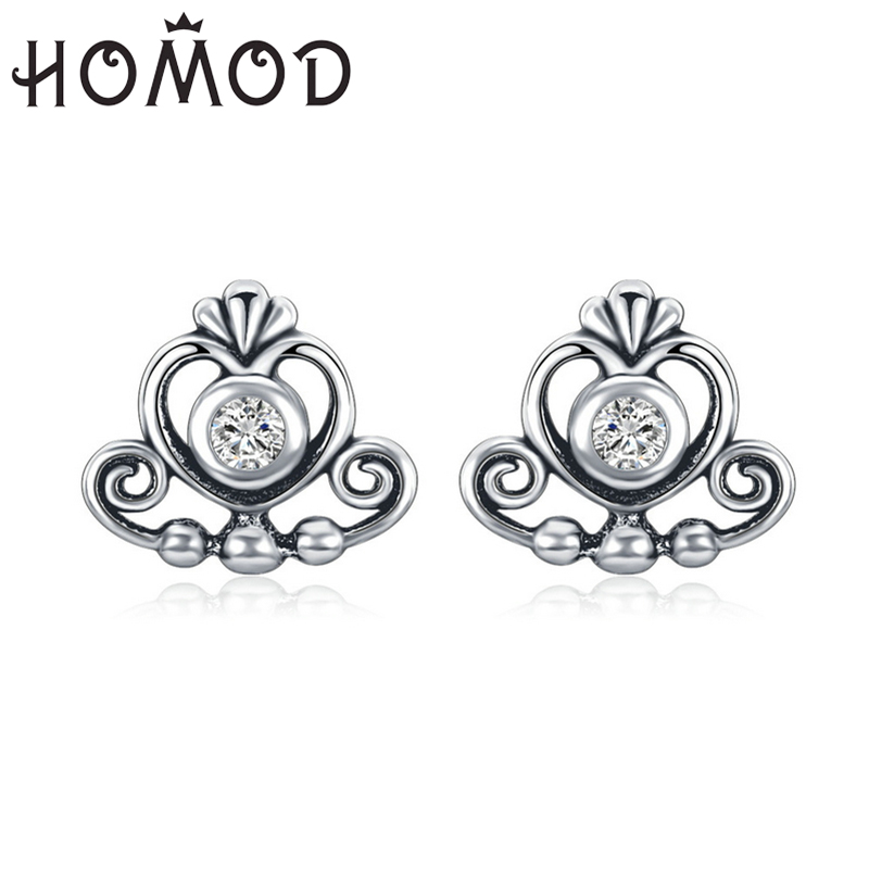 HOMOD Classic Princess Crown Earrings For Women Stud Earrings Sparkling Brand Earrings Fashion Jewelry Gift Dropshipping