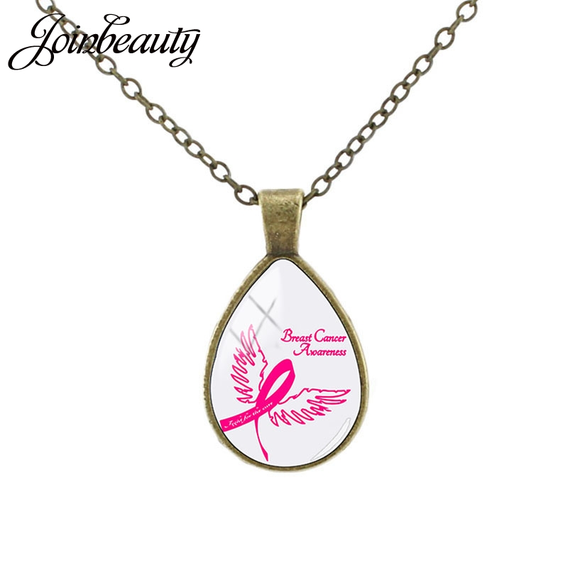 JOINBEAUTY Support Breast Cancer Awareness Pattern Necklace Glass Teardrop Pendant Women Jewelry Charity activities Gifts CC28 image