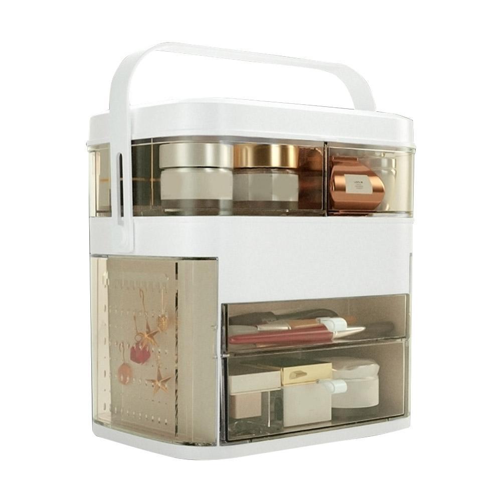 Espelho led cosméticos organizador portátil caixa de