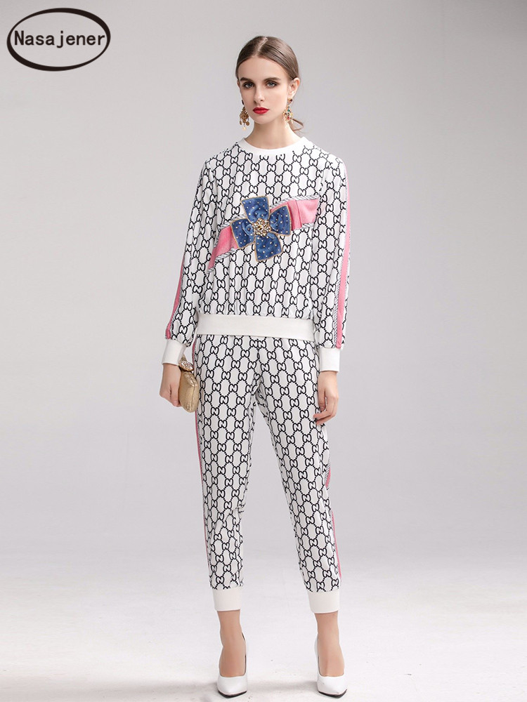 2020 New Two-piece Set Autumn Set Age-reducing Women's Retro Letter Print Spike Diamond Sweatshirt + Nine points Pants