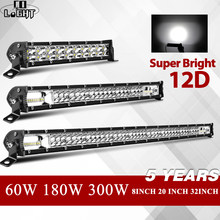 "CO LIGHT 8"" 20"" 32"" 12D Slim LED Light Bar Single Row 60W 180W 300W 4x4 Led Bar For SUV 4WD ATV Off Road LED Work Light 12V 24V(China)"