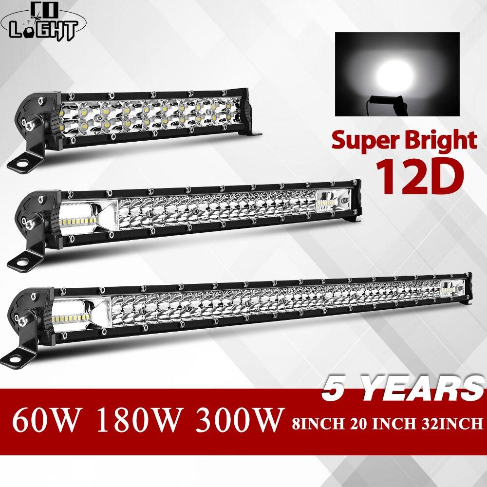 """Światło CO 8 """"20"""" 32 """"12D wąska lampka LED Bar jeden rząd W 60W 180W 300W 4x4 Led do baru dla SUV 4WD ATV lampka LED do użytku W terenie 12V 24V"""
