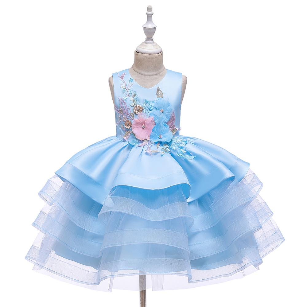 Flower Girl Dress 2019 Flowers First Communion Dresses For Girls Elegant O-neck Appliques Christmas Ball Gowns Yellow  Blue Pink
