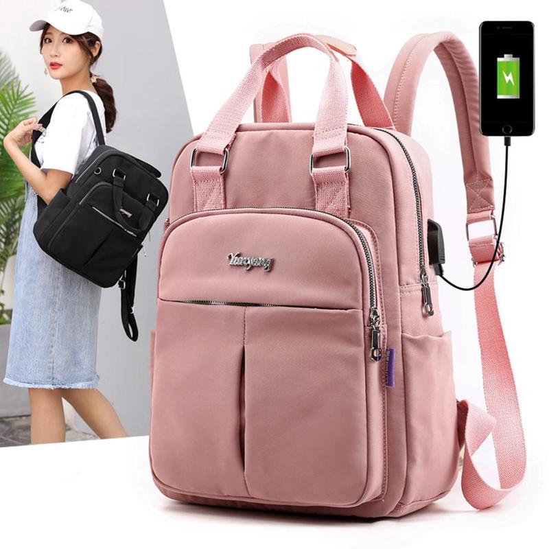Usb Backpack Shoulder Bag Women Anti Theft Nylon School Travel Backpacks Girls Laptop Bag 6 Colors Fashion Bags For Teenage Girl