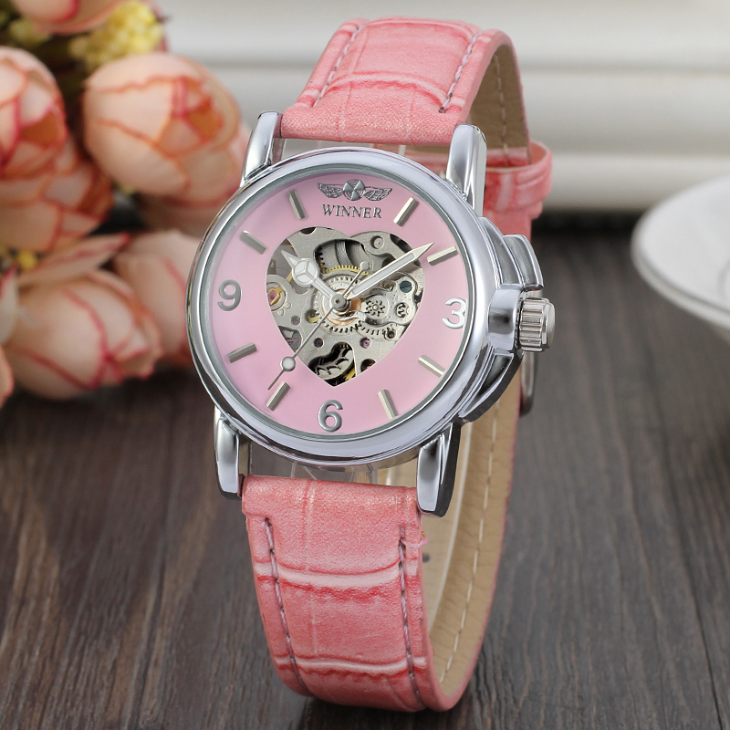 Winner Casual Elegant Ladies Fashion Pink Love Pattern Wrist Mechanical Watch Leather Belt