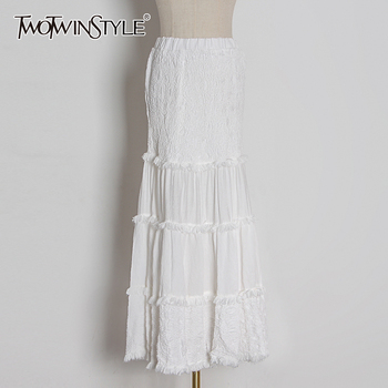 TWOTWINSTYLE Elegant Patchwork Tassel Women Skirt High Waist Ruched Ruched Ruffle Skirts For Female Fashion Clothing 2020 Tide фото
