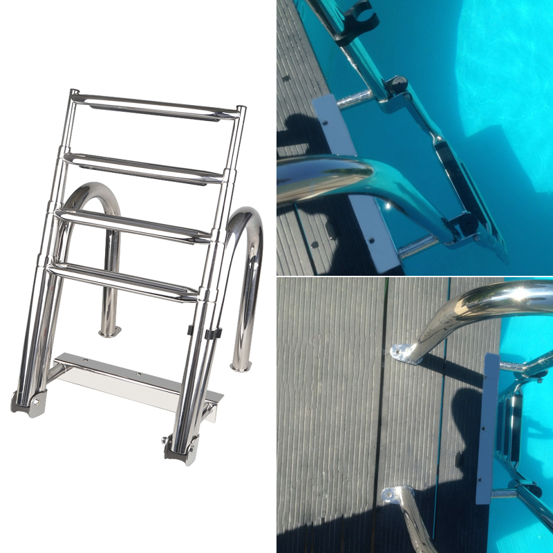Marine Boat Ladder Deck Yacht Swimming-Board Stainless-Steel 4-Steps Folding