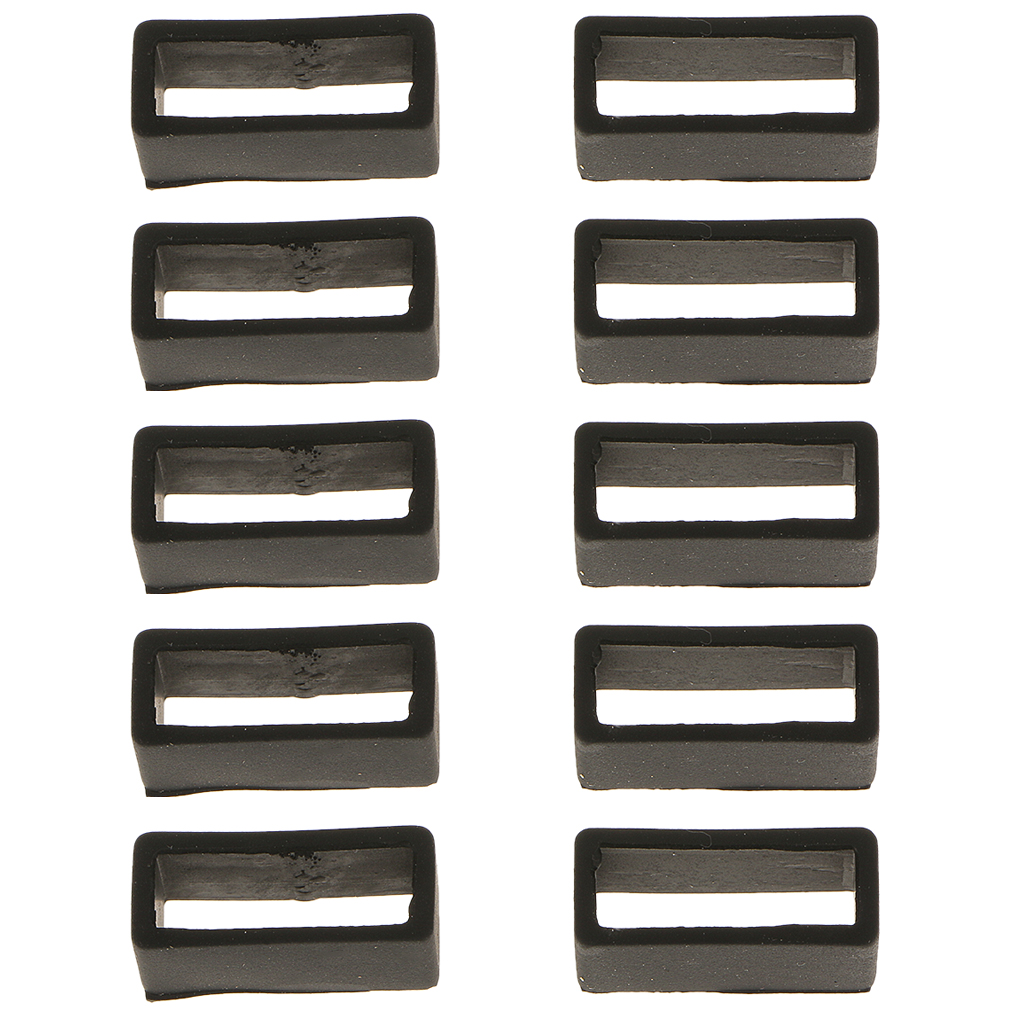10Pcs Black Rubber Replacement Keeper Loops Watch Band Strap End Holder 20mm