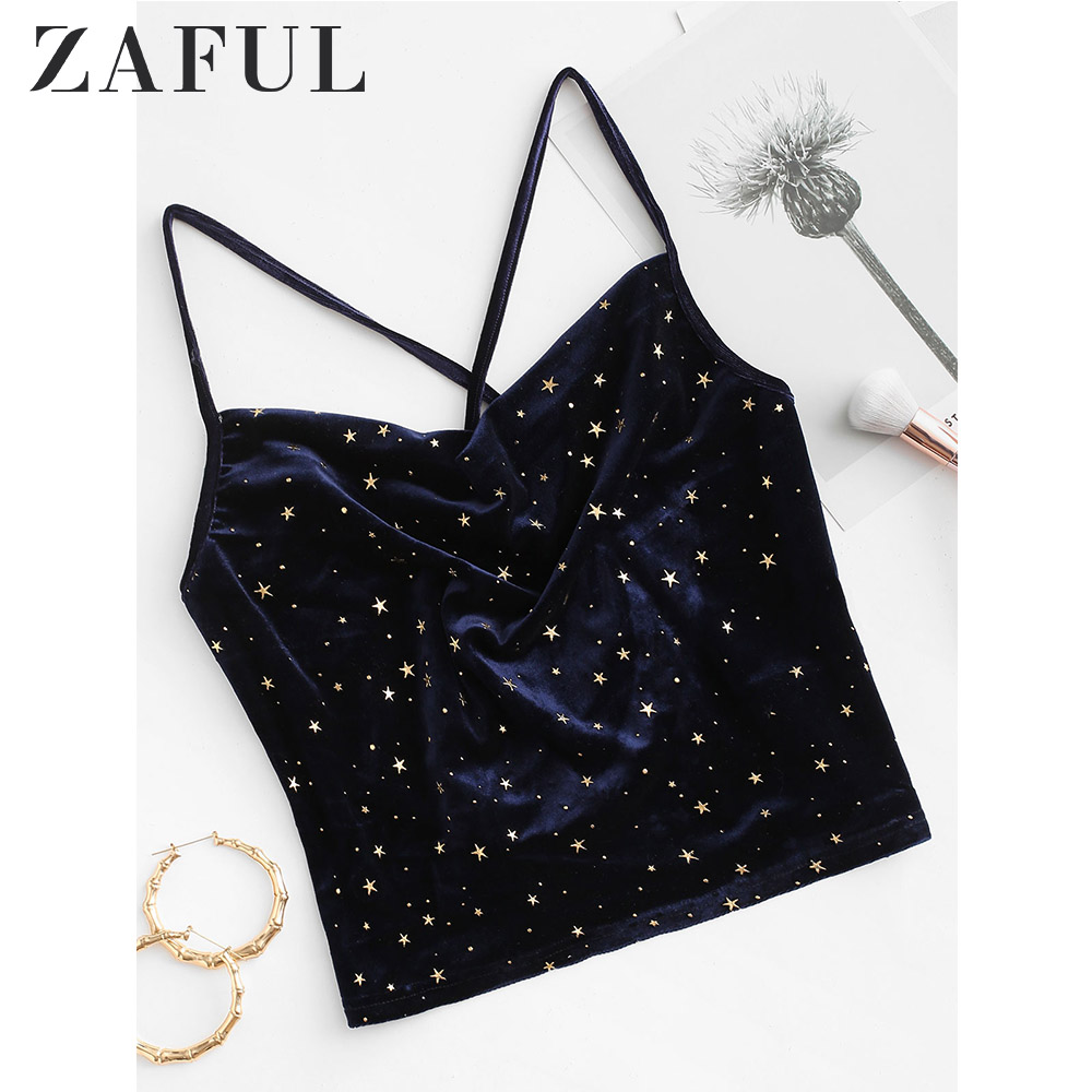 ZAFUL Sparkle Stars Criss Cross Velvet Cami Top Self Tie Spaghetti Strap Short Women Tops 2020 Spring Summer New Casual Tank Top