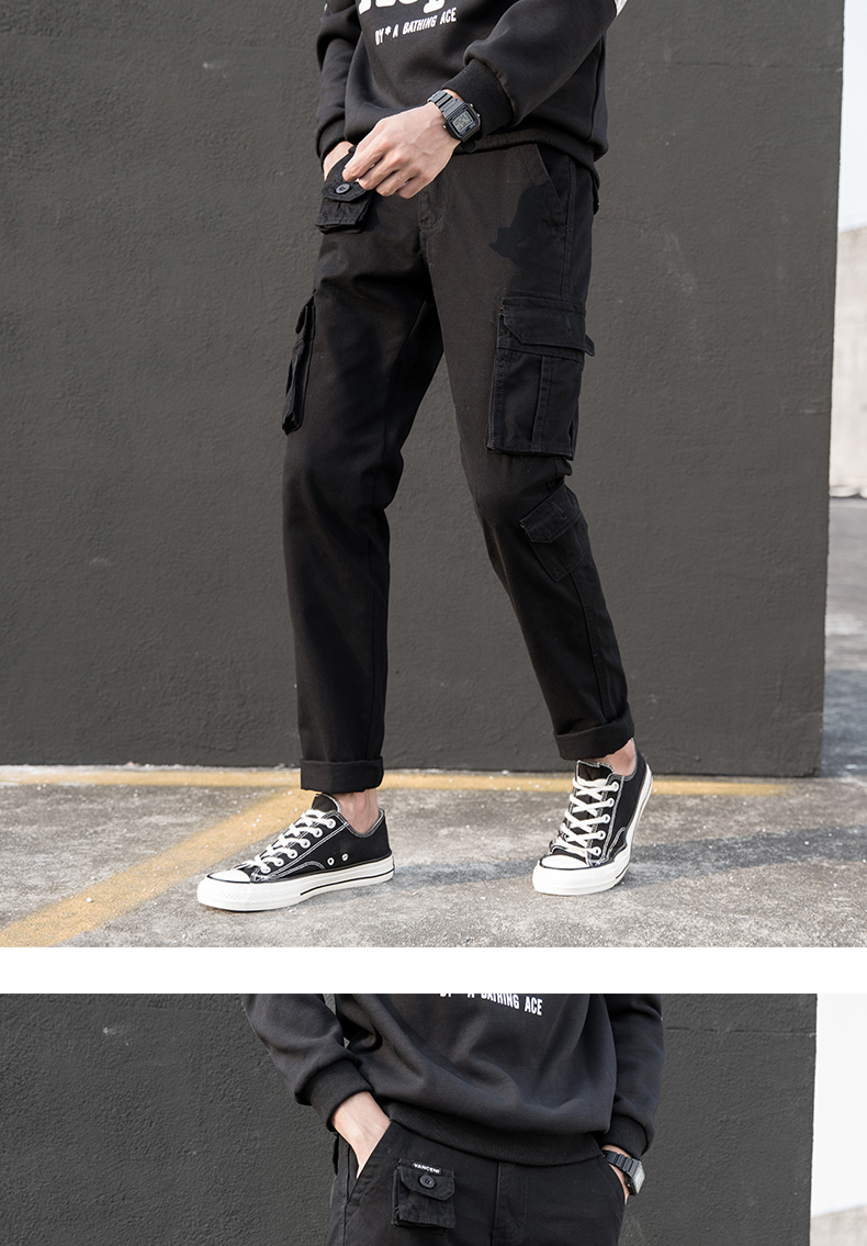 KSTUN Cargo Pants Men Straight Cut 100% Cotton Overalls Casual Pants Men Multi Pockets Camouflage Full Length Trousers Top Quality 23
