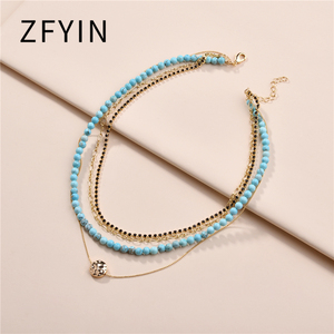 LUNA CHIAO 2020 Summer Jewelry Multi Layered Natural Stone Beaded Strand Necklace Women Layering Statement Necklace