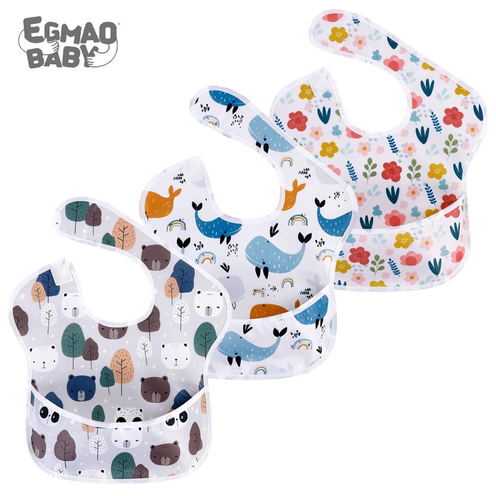 Waterproof Baby Bibs 100% Polyester TPU Coating Feeding Bibs Washable Baby Bibs with Food Catcher for Baby Girls & Boys